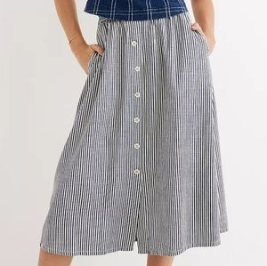 Madewell Palisade Button-Front Midi Skirt